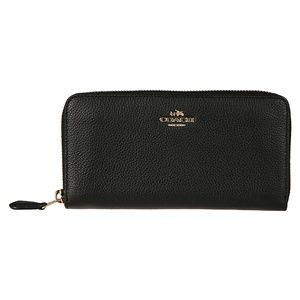 COACH black pebbled leather zip around wallet